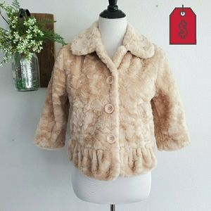 Forever 21 Faux Fur Nude Crop Jacket New Small